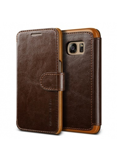 Galaxy S7 Dandy Layered Kapaklı Kılıf Dark Brown-Verus